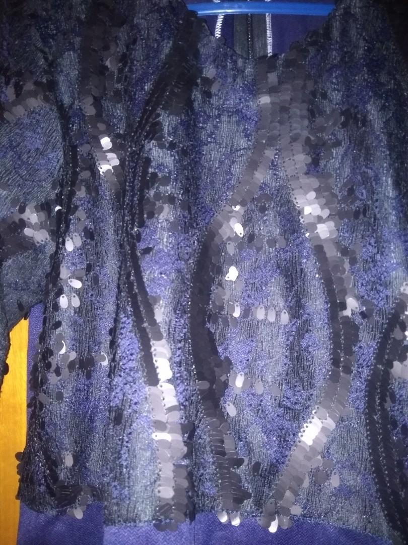 Kurung raya lace sequins navy blue xl (sepasang)