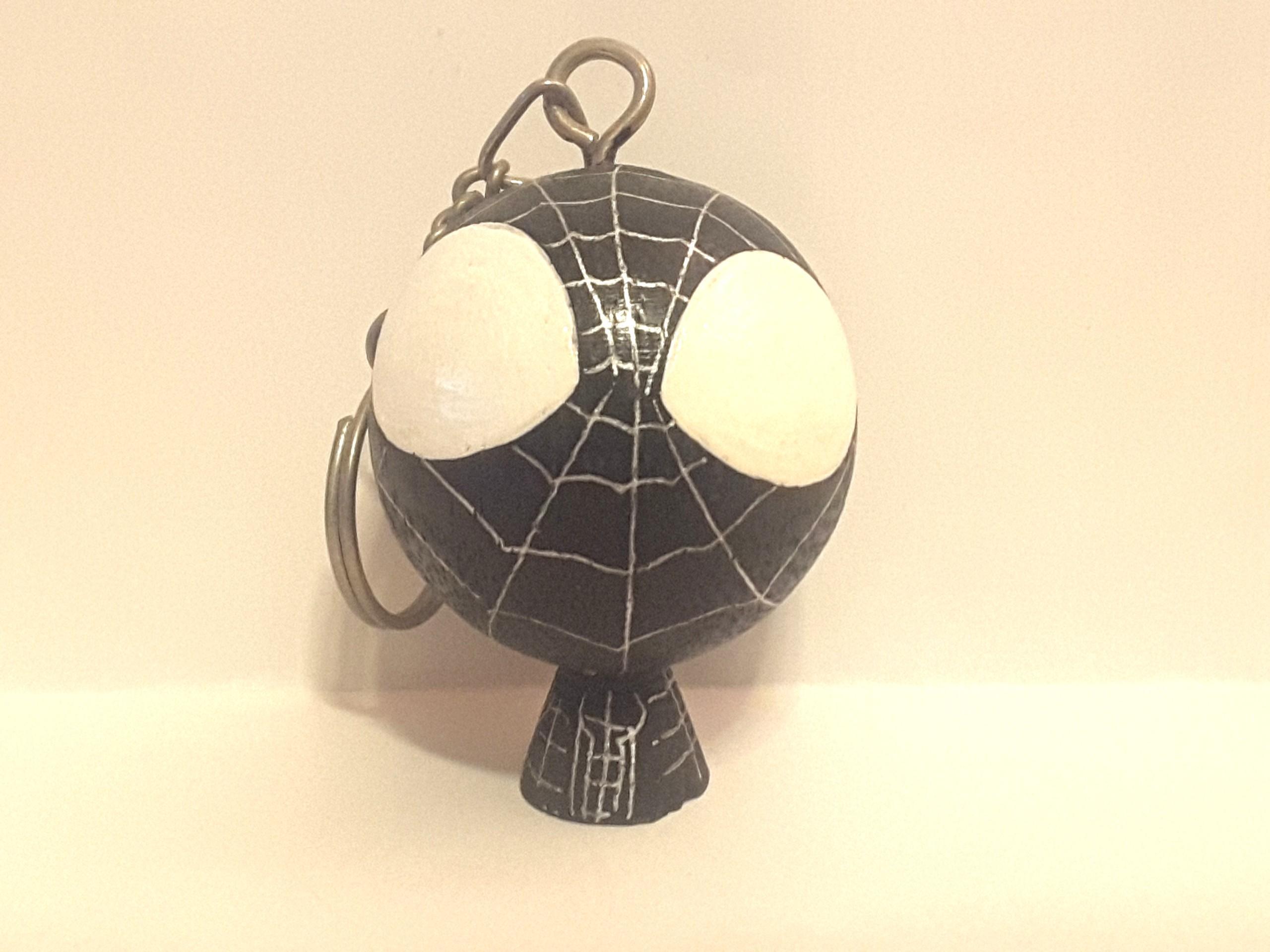 Marvel Spiderman 黑色 蜘蛛俠 木製 鎖匙扣 Q版 九成半新