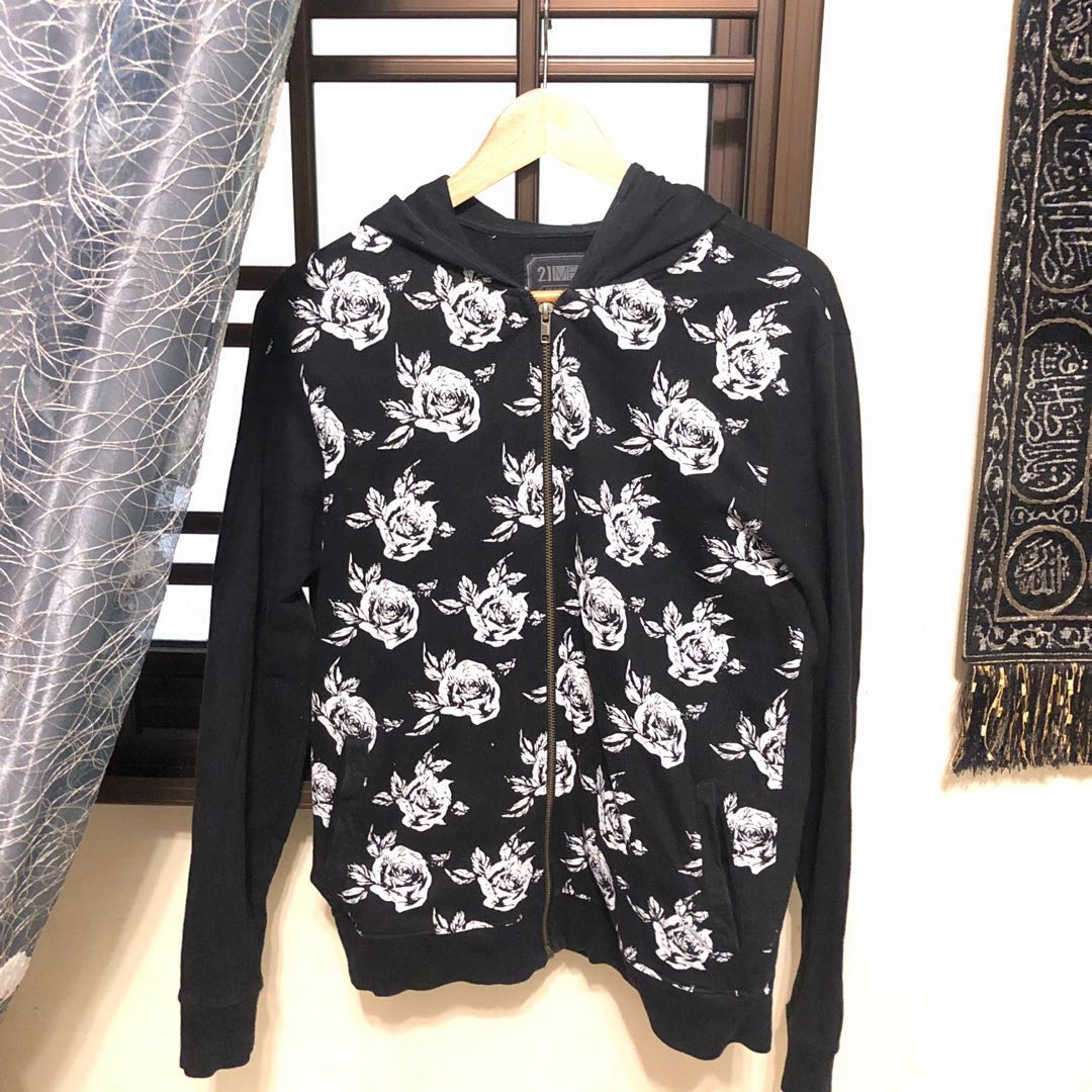 MEN 21MEN XS Floral Printed Sweat Full Zip Hoodie