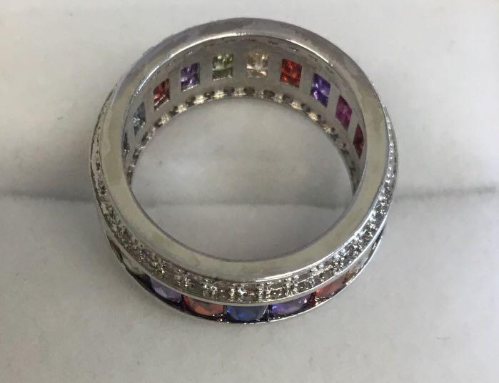 Multi Gemstone Ring Silver Statement Ring