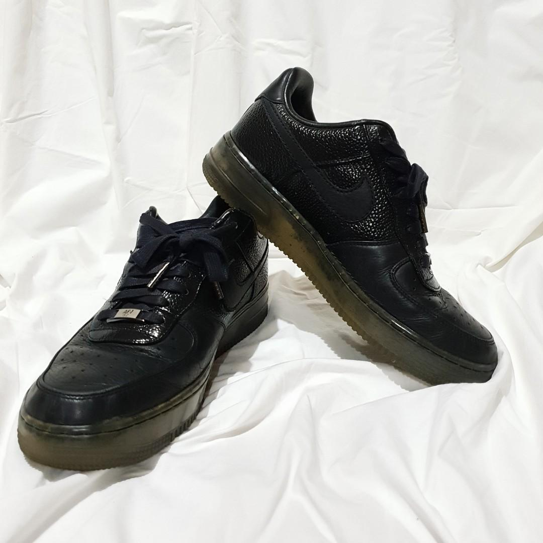cheaper 4b109 cb899 Nike Air Force 1 '82 Men's Low Black Leather Sneakers Size ...