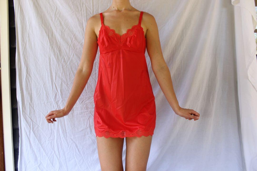 Orange Lacey slip dress