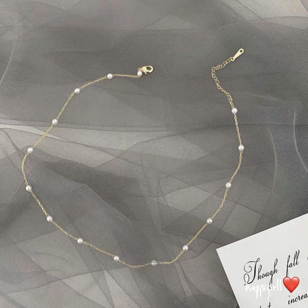 Pearls & mini chained necklace in silver or gold