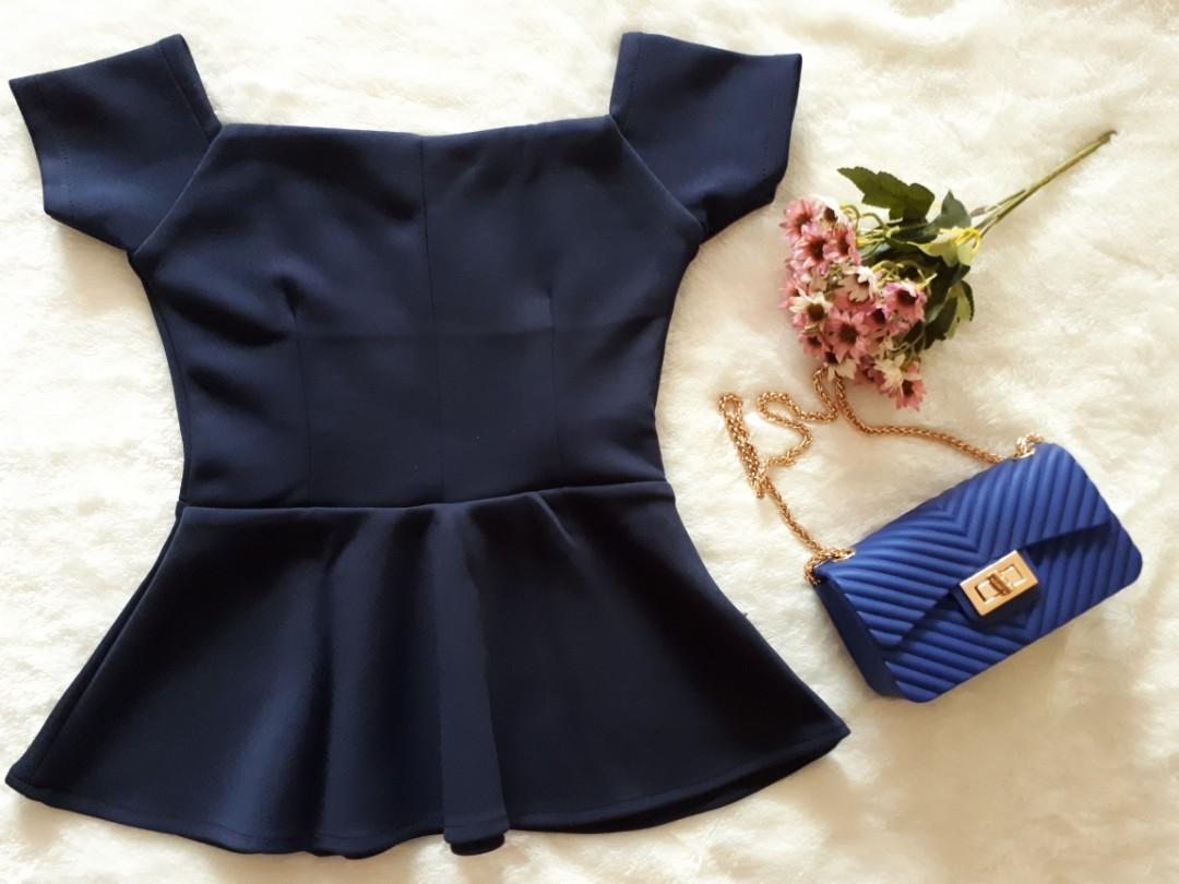 Peplum Top dark blue