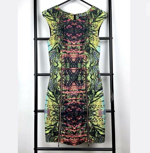 Portmans sz 6 green jungle forest multicolour women dress work career casual