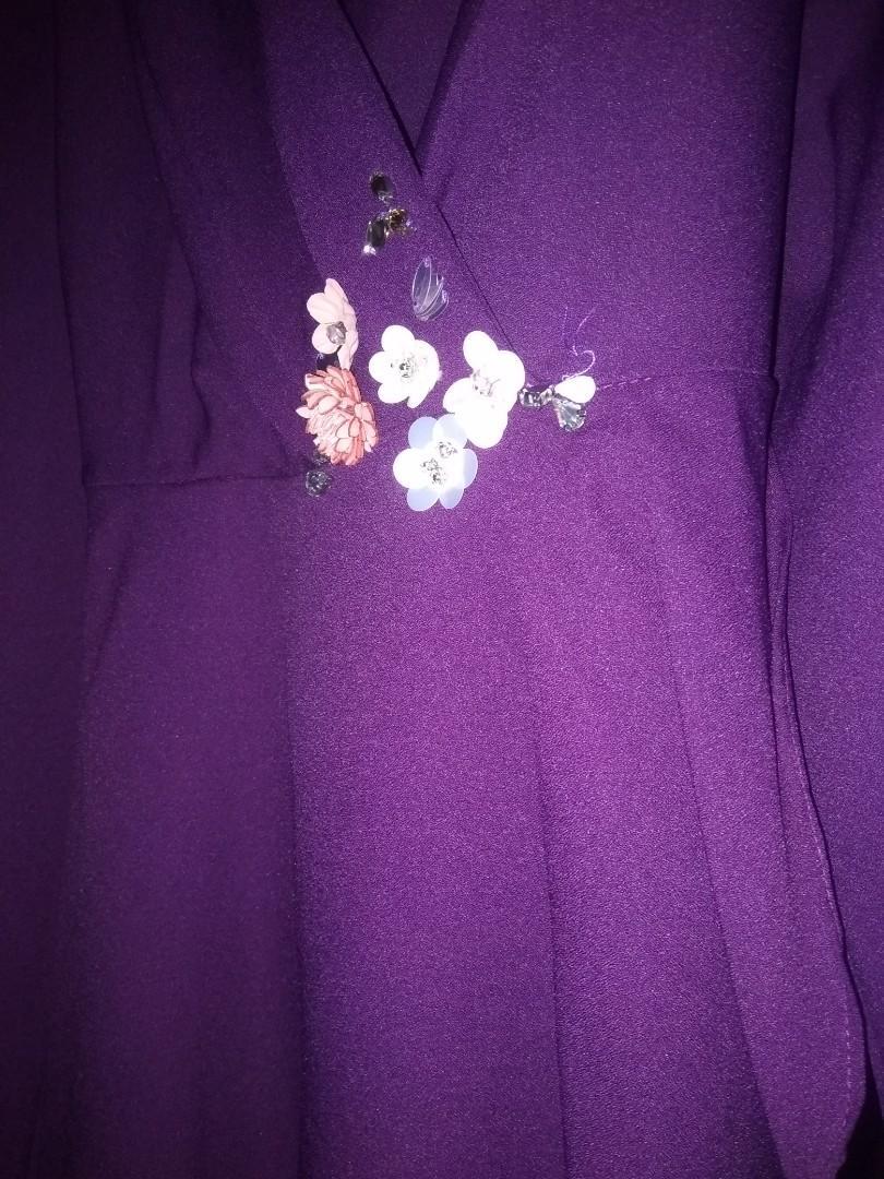 Purple Top kurung breast feeding kimono M