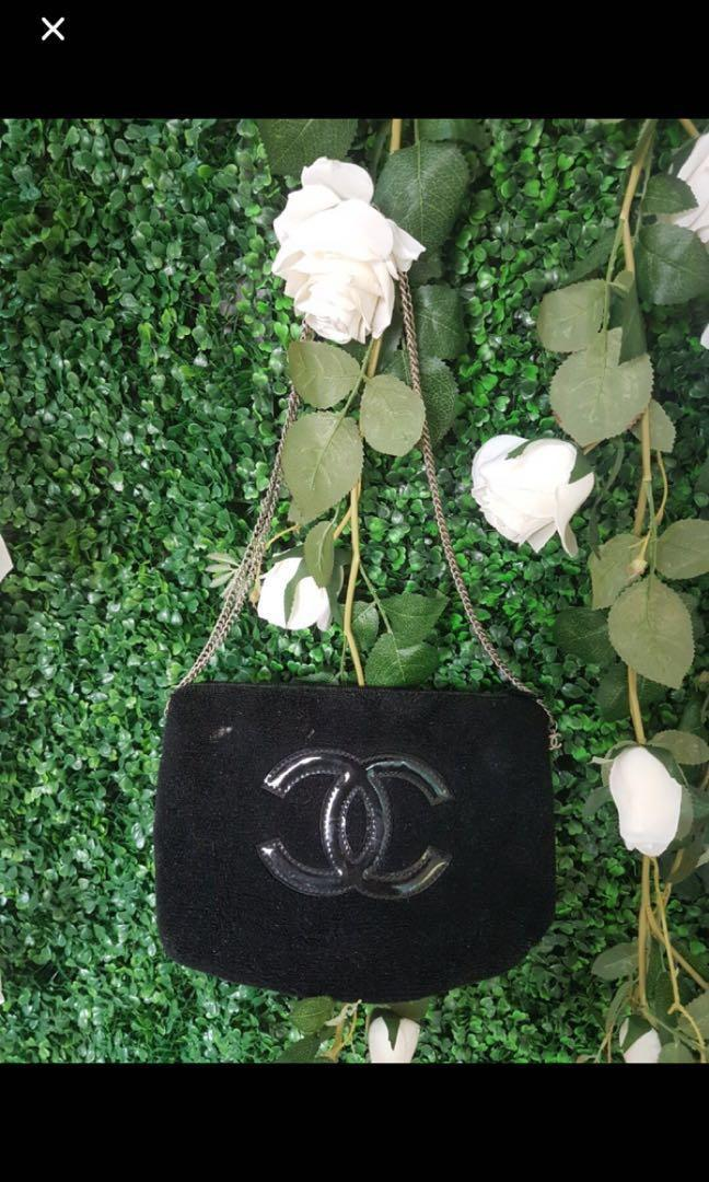 REDUCED Chanel VIP gift Black velour logo brand clutch bag case pouch 2.55 lie boy flap