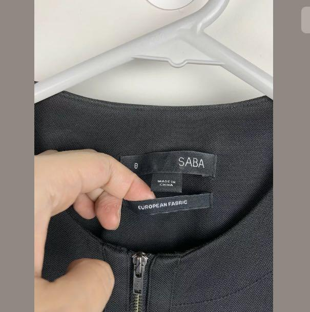 SABA sz 8 black basic peplum jacket blazer work career business casual designer