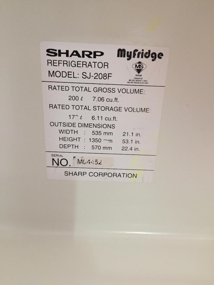 sharp fridge