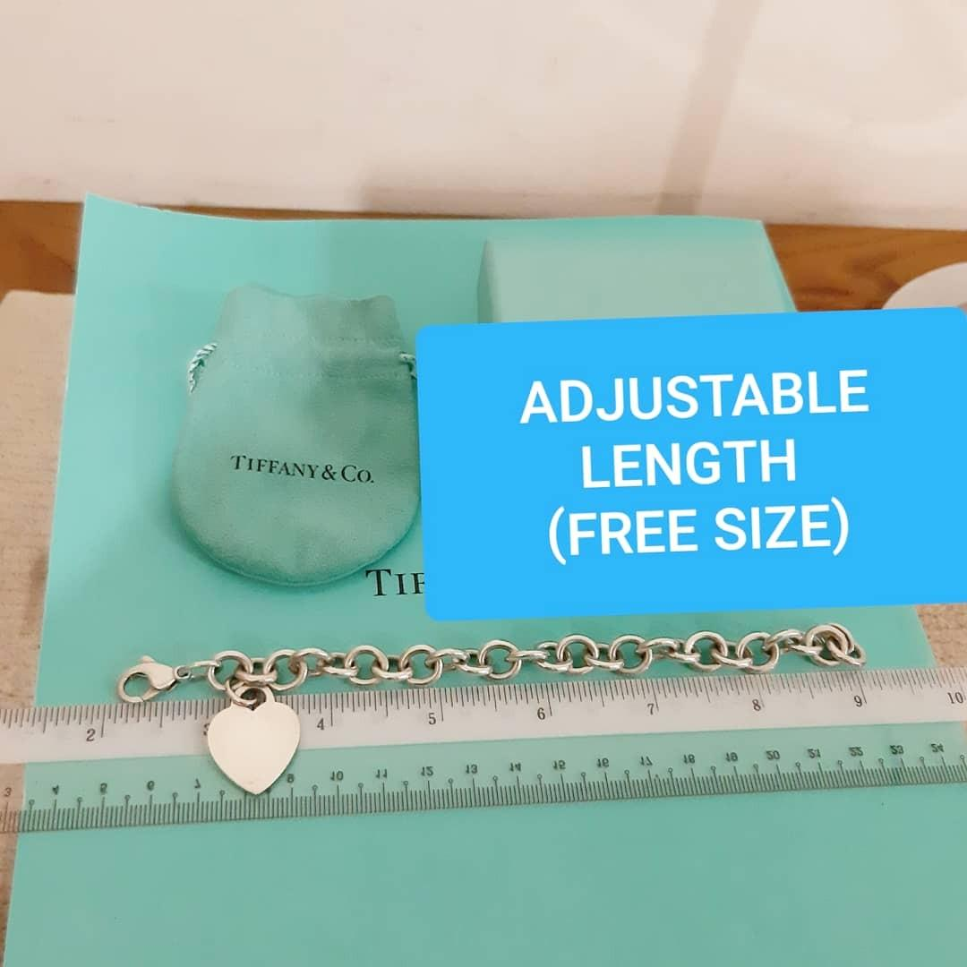 SOLD - AUTHENTIC TIFFANY & CO. SILVER HEART BRACELET - EXCELLENT CONDITION, STILL SHINY - ADJUSTABLE LENGTH/ FREE SIZE ITEM - COMES WITH DUSTBAG AND BOX - (TIFFANY HEART BRACELETS NOW RETAIL AROUND RM 1300+)