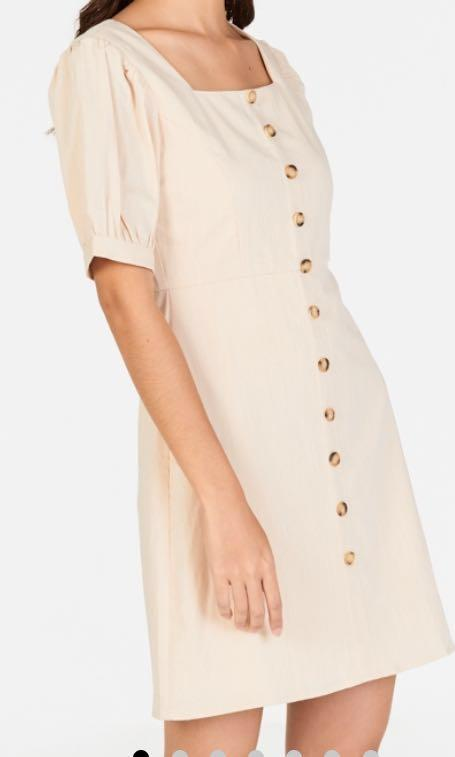 TCL Jude Pouf Sleeves Linen Dress in Cream