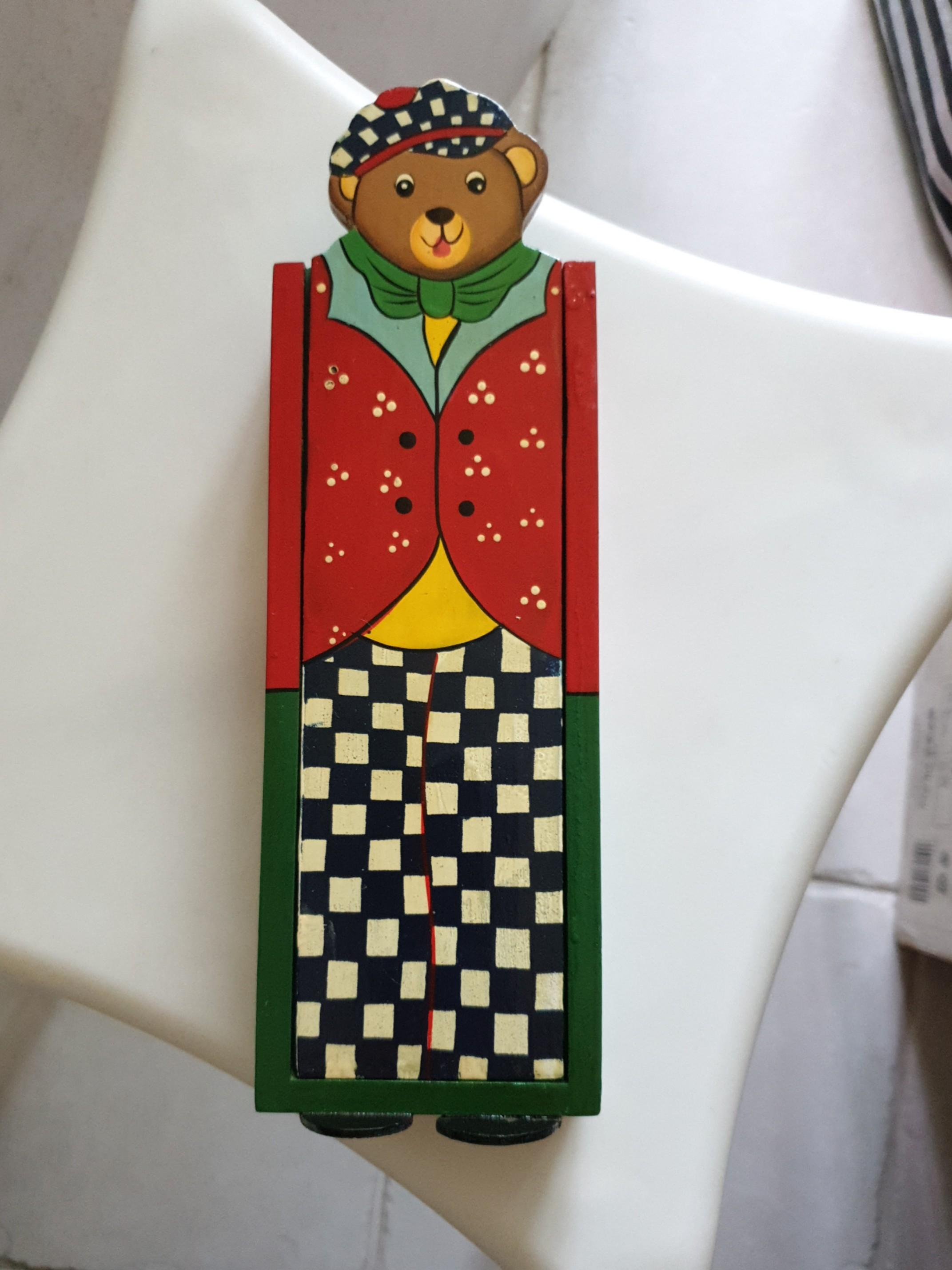 Teddy Bear Wooden Pencil Case