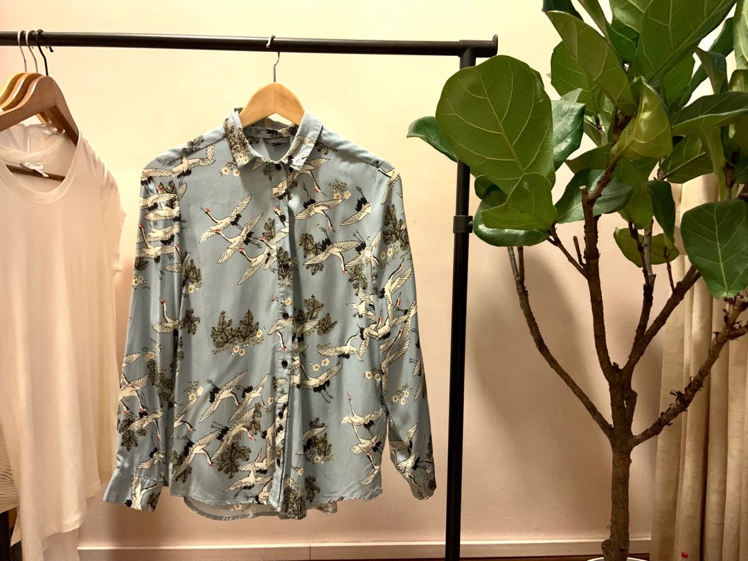 5e4860b22e1c19 Topshop Shirt with Japanese Cranes, Women's Fashion, Clothes, Tops on  Carousell
