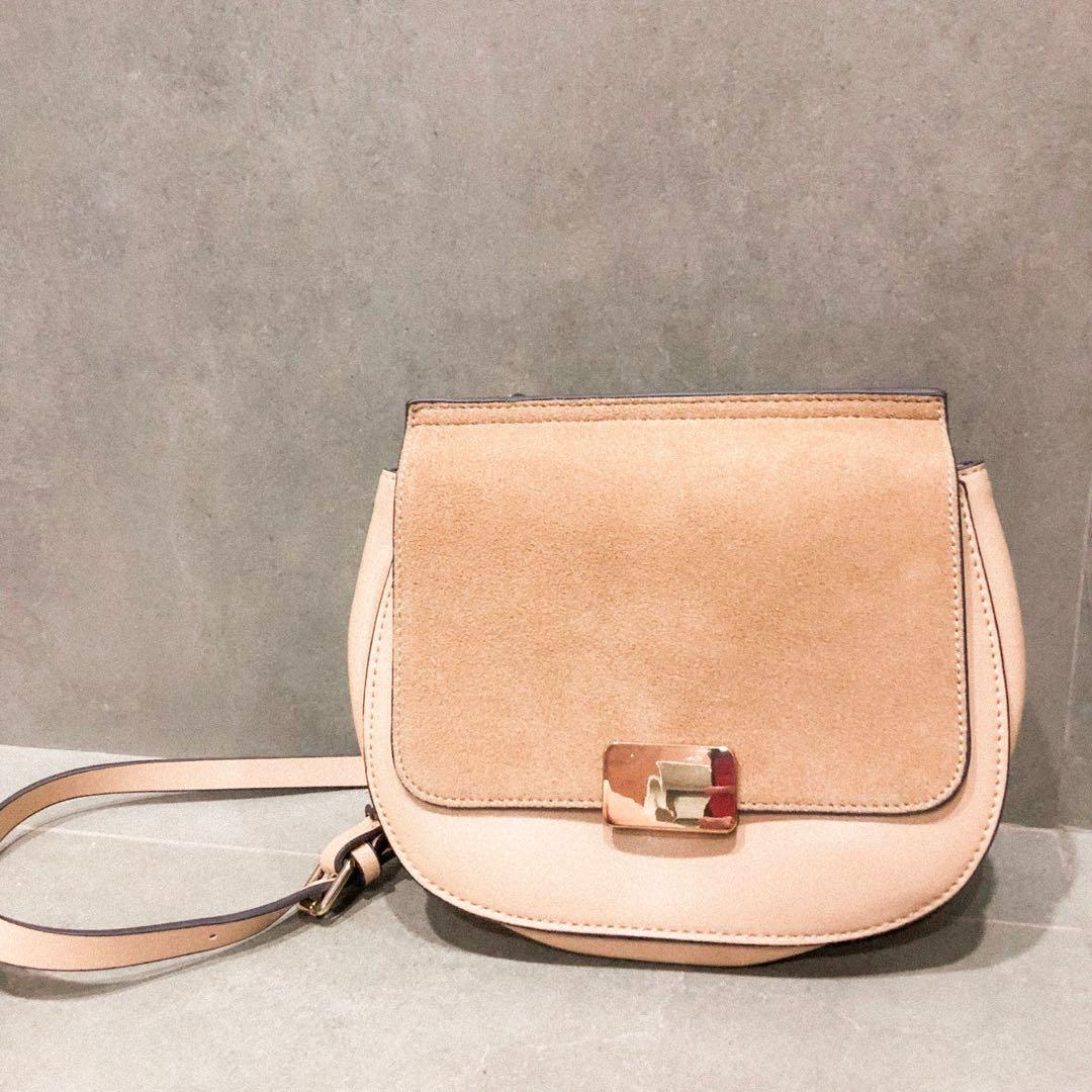 f172dbbf9c4 Zara Beige Suede & Leather Bag on Carousell