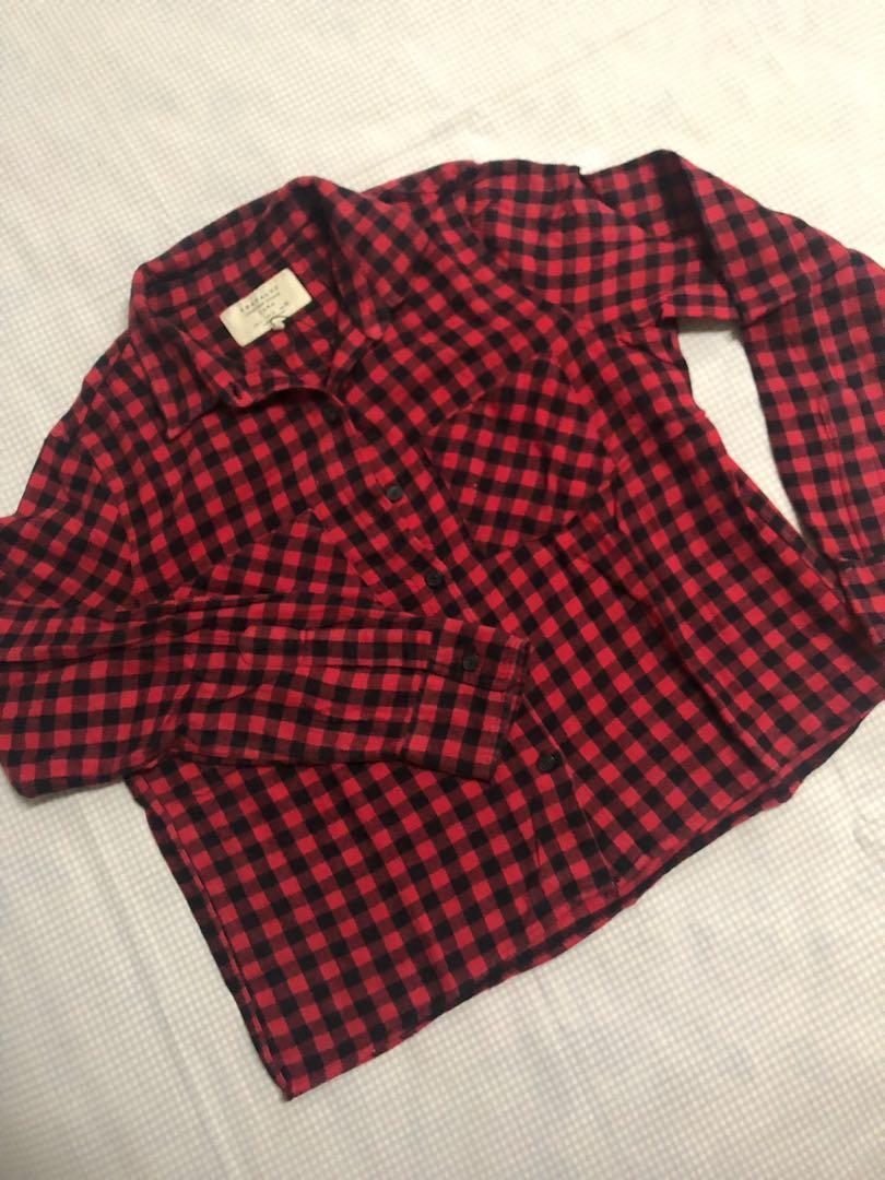 Zara Trafaluc Red Plaid Flannel