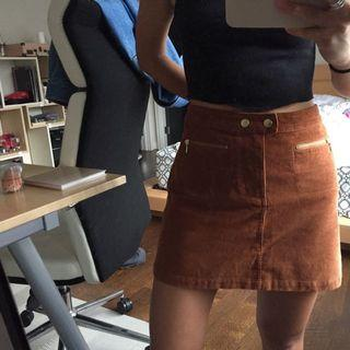 abercrombie and fitch tan corduroy skirt