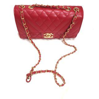 Chanel classic sling bag..red..