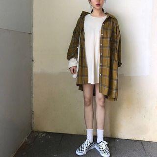 Kemeja Wanita Lengan Panjang Plaid Kuning Style Korea Oversized