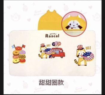 🚚 7-11 小浣熊 連帽造型大毛巾 甜甜圈款