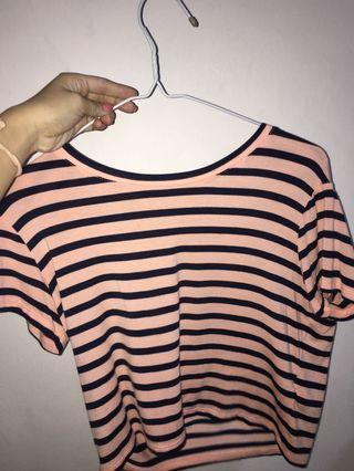 cotton on baby tee (navy and pink striped)