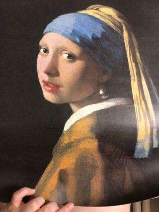🚚 戴珍珠耳環的少女 維梅爾 複製畫海報