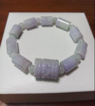 天然紫蘿蘭春彩翡翠手串