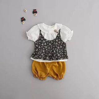 🚚 娃娃領上衣+碎花細肩背心+燈籠短褲 三件式套裝
