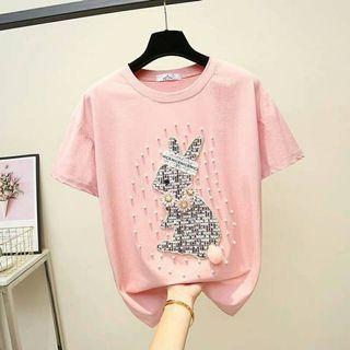 #韓版時尙風立體繡布珍珠棉T 2款《兔兔花朵》《LOVE花朵》