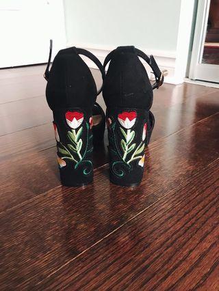 Platform Heels with Embroidered Flower on Back (7)
