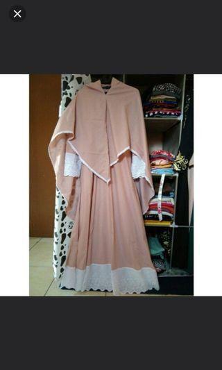 Gamis set syari pink renda putih cantik
