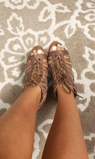 Nine West BROWN Faux Leather Strappy Wedges