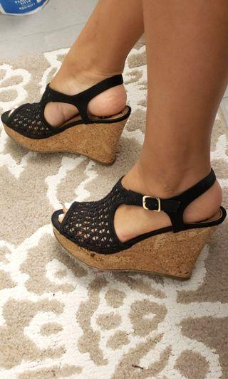 Size 7 Black Lace Canvas Wedges