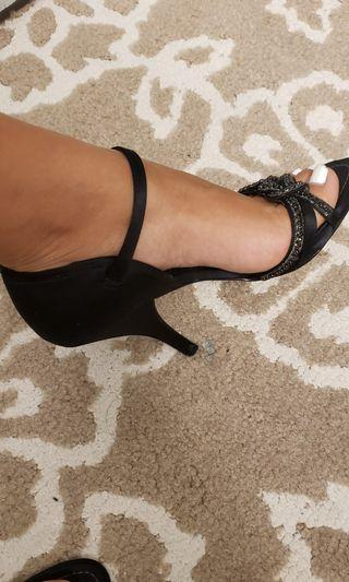 Fancy Black Strudded and Jeweled Heels
