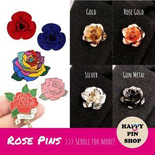 [20% OFF] 3D Metal Rose, 3D Felt Rose, Rose Enamel Pins