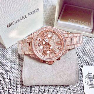 Michael Kors wren rosegold crystal glitz chronograph 42mm