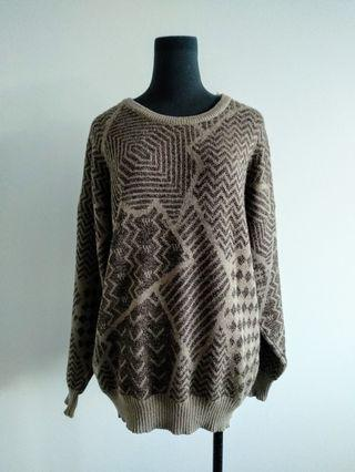 Vintage Brown Pure wool jumper AU 14-18