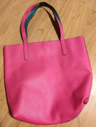 Reversable Pink and Green Leather Tote Bag
