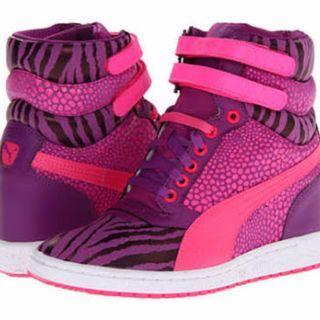 PUMA Women's Sky Wedge Reptile Sneaker - Pink