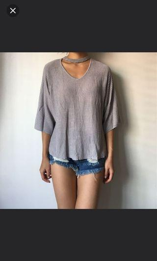 Choker Ribbed Oversized Grey Top
