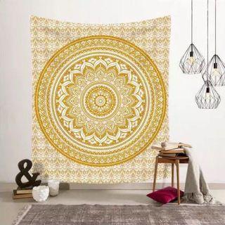 (現貨) 小預算佈置術黃色曼陀羅裝飾掛布壁畫直播背景微裝潢