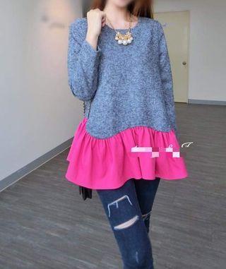 全新韓國雪花藍色拼粉紅色長袖衫 女裝上衣 women top Made in Korea