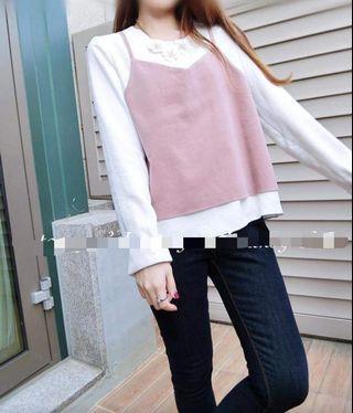 全新韓國白色拼粉紅色長袖衫 女裝上衣 假兩件Top Made in Korea