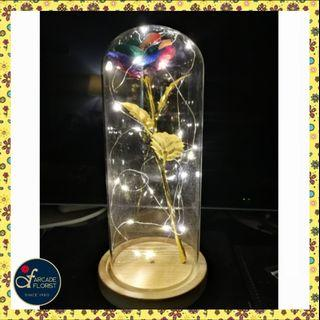 """1 Stalk 24K """"Gold Foil Plated"""" Rainbow🌈 Rose in Glass Dome with LED 