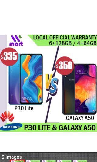 Huawei P30 Lite and Samsung Galaxy A50
