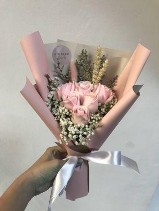 6 stalks Pink Roses bouquet