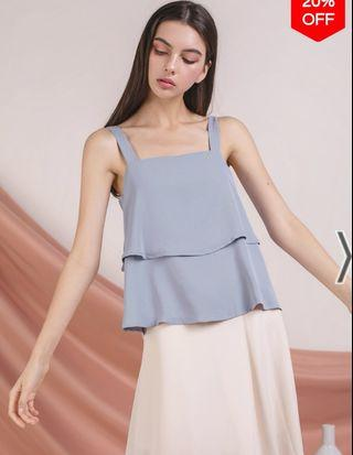 TTR Hena Double Tiered Top in Ash Blue