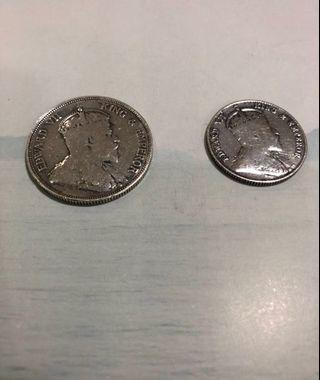 Straits Settlements King Edward Viii 20 cents coin 1910 & 50 cents coin 1907 !