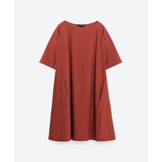 Zara Oversized Babydoll Dress in Brick