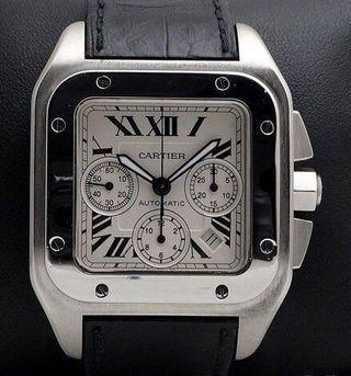 Cartier Santos 100 XL Chronograph in excellent condition - Year 2013 (one of those last few pcs before it was discontinued) in complete set