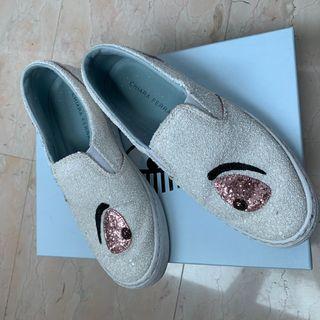 Chiara Ferragni eye shoes white glitter CHEAP